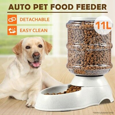 Automatic Auto Cat Food Pet Dog Feeder Large Bowl Bottle Dispenser Plastic 11L