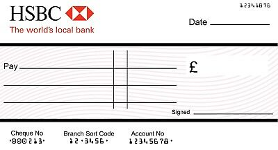 LARGE JUMBO HSBC BLANK CHEQUE (3 SIZES) for Charity- Presentation
