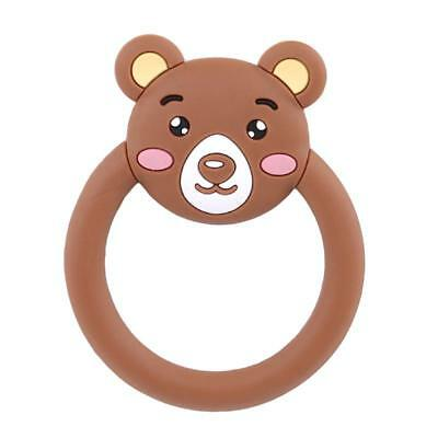 Safety Cartoon Bear Infant Baby Teether Silicone Beads Teething Molar Ring T