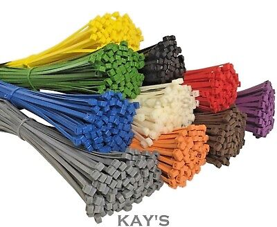 100Pk. CABLE TIES ZIP TIE RED BLUE YELLOW GREEN BLACK WHITE PURPLE BROWN ORANGE