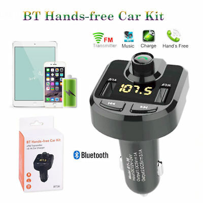 Bluetooth transmisor FM Reproductor MP3 de Coche Cargador USB Manos libres Kit