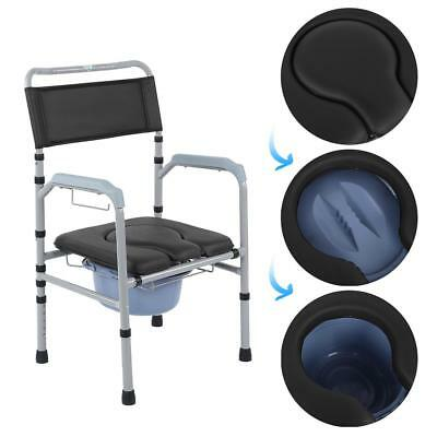 Deluxe Stackable Portable Toilet Commode Chair Seat Mobility Disability Aid