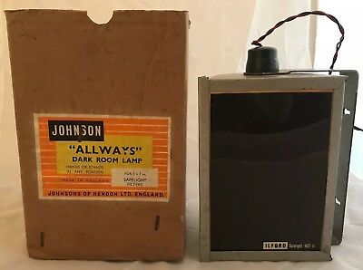 "Vintage Johnson ""Allways"" Photography Developing Dark Room Safe Light Lamp Boxed"