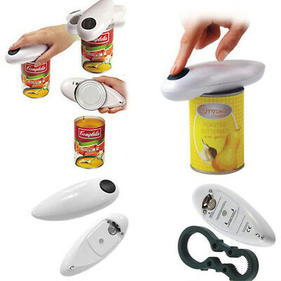 One Portable Touch Automatic Electric White Tin Can Opener&Free Bottle Opener AS