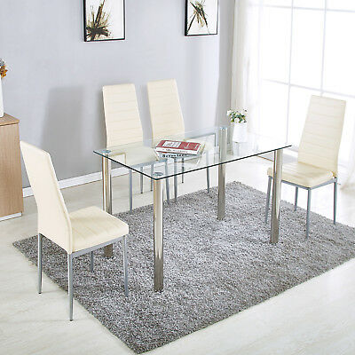 5 Piece Dining Table Set 4 Chairs White/Black Glass Metal Kitchen Furniture