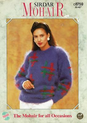 "SI8759 LADIES MOHAIR GEOMETRIC SWEATER KNITTING PATTERN 30-40""/76-102cm"