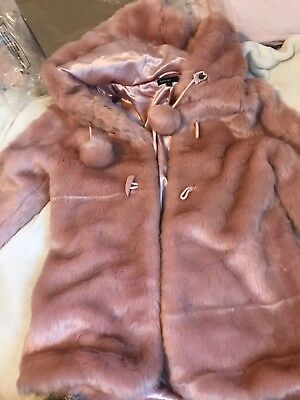 Stunning Marks And Spencer Girls Luxury Faux Fur Coat Size 13/14