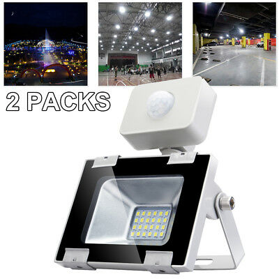 2X LED Floodlight PIR Motion Activated 20W Cool Garden Lighting Security Lamp