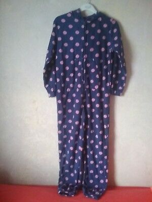 Girls pyjama all in one pj purple with pink spots hooded elasticated cuffs 11-12
