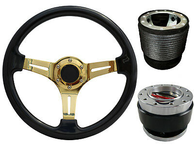 Black Gold Quick Release TS Steering Wheel + Boss Kit fits HYUNDAI 049