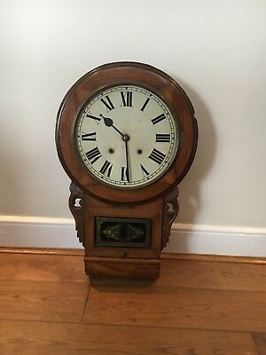 ANTIQUE DROP BOX PENDULUM WALL CLOCK - Needs repairs as Not Currently Working