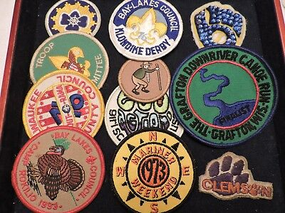 18 pc JUNK DRAWER all clothing patches scouts /clubs/gun/