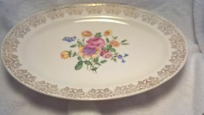 """Vintage Knowles serving platter, 14"""" x 10"""" gold trim and flowers, beautiful!"""