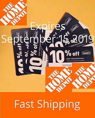 (10) TEN Lowes 10% off  for Home Depot only Exp 9-15-19