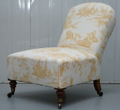 Early Victorian Howard & Son's Walnut Chair French Toile Upholstery Armchair