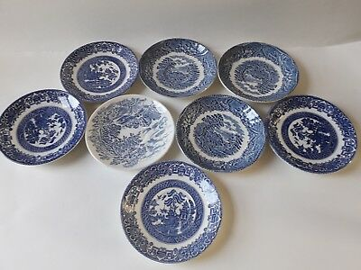 """Job Lot of 8 English Ironstone Pottery """"Old Willow"""" Blue & White Saucers"""