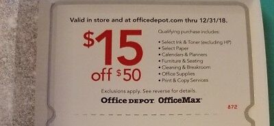 Office Max Office Depot Coupons Expires 12/20/18 $15 off $50