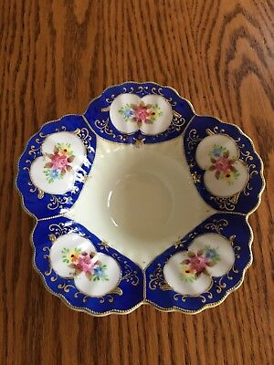 Candy Dish Compote Bowl White Blue Floral Gold trim Stamped Copyright L& M INC