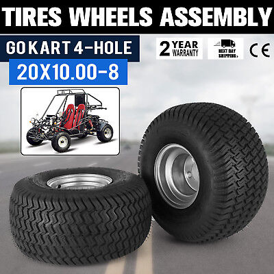 2 PCS Go Kart Tires Rims Wheels Assembly 4-Hole Utility Trailer Buggy Off Road