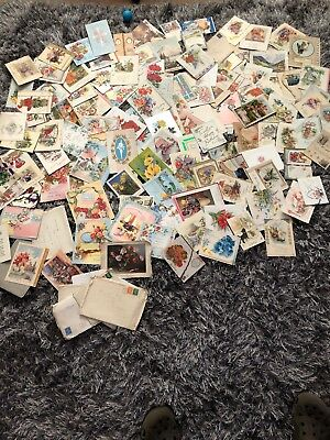 Large Job Lot Of Vintage Christmas And Birthday Cards Old EST 1940's Poss War?