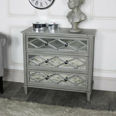 Ornate grey mirrored 3 drawer chest of drawers vintage bedroom furniture storage