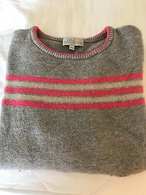 Wild and Gorgeous Girls Jumper. Grey with pink stripes and stars. Age 12-13