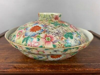 18th/19th C. QianLong Marked Chinese Famille Rose Millefleurs Covered Bowl