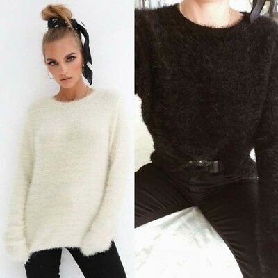 Women's Sweaters Plush Sexy Round Neck Long Sleeve Tops Outerwear Fashion Warm