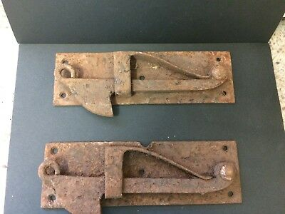 "2 Vintage Iron Door/Gate Latches 8"" x 2 1/2"" heavy, rusty, in good working order"