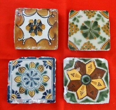 Antique Vintage Mexican Hand Painted Tiles (4)