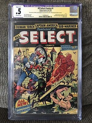 All Select Comics #1 CGC 0.5 SS Stan Lee First Issue Captain America 1943!