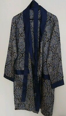 St Michael M & S Vintage Paisley Print Blue Dressing Gown Robe Size Medium