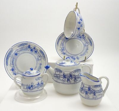 Vintage Japanese Miniature Tea set - Hand Painted White & Blue Pattern - 6pc set