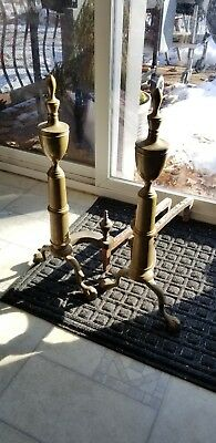 Pair ROSTAND Vintage turn of the century Clawfoot Brass Fireplace Andirons