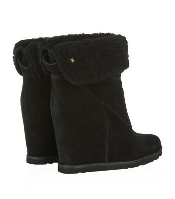 Ugg® Australia Kyra Black Suede Pull On Wedge Boots Uk 4.5 Eur 37 Usa 6 Rrp £235
