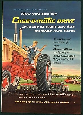 CASE TRACTORS & IMPLEMENTS 1960  Lg 4-pg insert print ad. Case-o-matic Drive