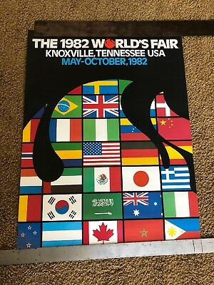 1982 World's Fair Poster Knoxville Tennessee County Flags Original