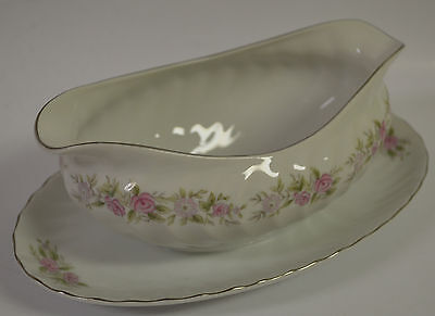 Dansico fine China of Japan Tea House rose Gravy Boat with Attached Underplate