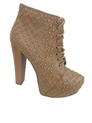 872dd4ff8068a Charlotte Russe Women s Lace Up Platform Studded Ankle Boots Sz. 8  B479