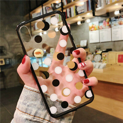 For Apple iPhone XS Max XR X Slim TPU Soft Clear Polka Dot Shockproof Case Cover