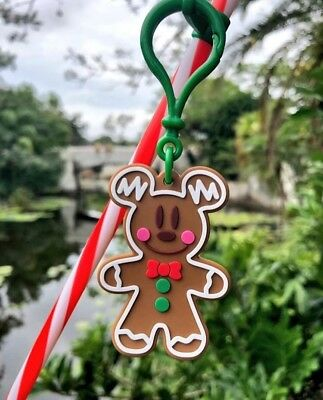 Disney Parks 2018 Christmas Mickey Mouse Gingerbread Man Straw & Clip New