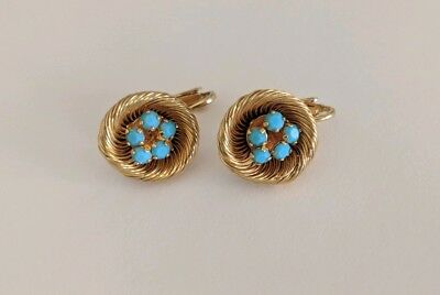 Vintage Blue Robins Egg in Gold Nest Clip On Earrings