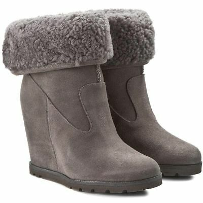 Ugg® Australia Kyra Grey Suede Pull On Wedge Boots Uk 6.5 Eur 39 Usa 8 Rrp £235