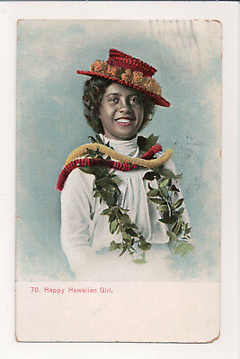 "Antique ""happy Hawaiian Girl"" In Lauhala Hat Colorful Leis 1911 Postcard Pmc"