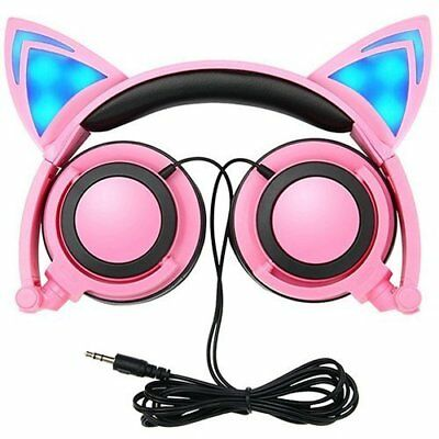 Cat Ear Headphones, GOGOING Kids Headphones with LED Flash Wired Mode, (Pink)
