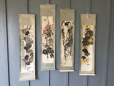 Japanese Art Scrolls ~ Vintage Wall Hangings ~ Hand painted ~ Signed