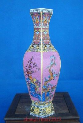 275mm Collectible Handmade Painting Cloisonne Porcelain Vase YongZheng Mark Deco