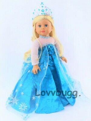 """Elsa Dress Frozen Ice Queen Gown USA SELLER fits 18/"""" American Girl Doll Clothes"""