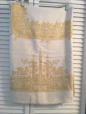 """Vintage Christmas Tablecloth 48""""x64"""" Gold Cream Damask Candle Poinsettia Pattern"""