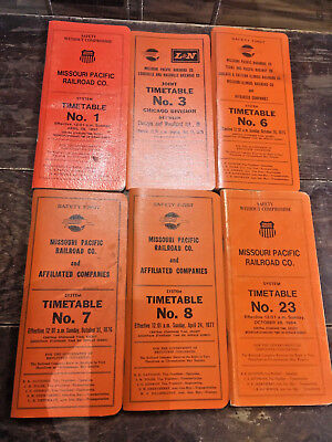 Vintage Missouri Pacific Time Tables/Manuals Lot Of 12